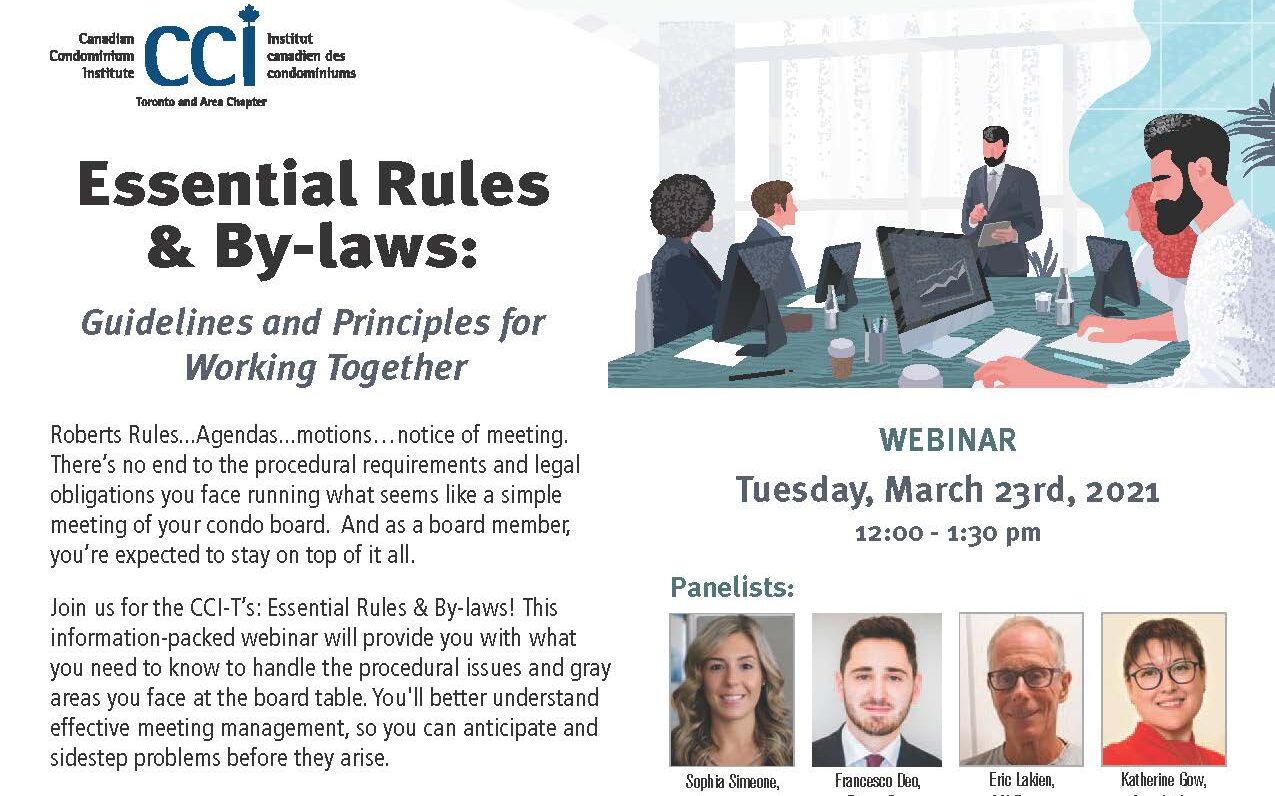 """Sophia Simeone will be moderating the CCI """"Essential Rules & By-laws: Guidelines and Principles for Working Together"""" Event."""